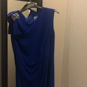 Navy dress with Bow on right shoulder